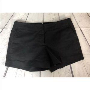 J. Crew Black Flat Front Dress Shorts Cotton Sz 4